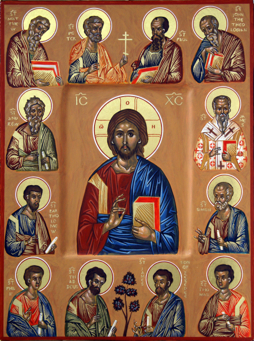 The Synaxis of the Twelve Apostles, with our Lord, Jesus Christ, at the centre.