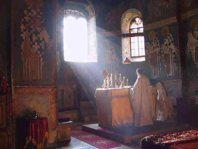 Light over the Holy Altar of Decani Monastery, Kosovo, Serbia