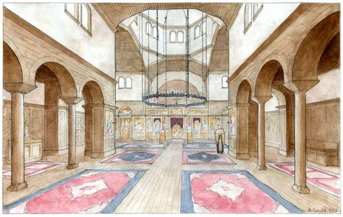 A conceptual interior for a wood-frame Orthodox Church, designed by Andrew Gould.