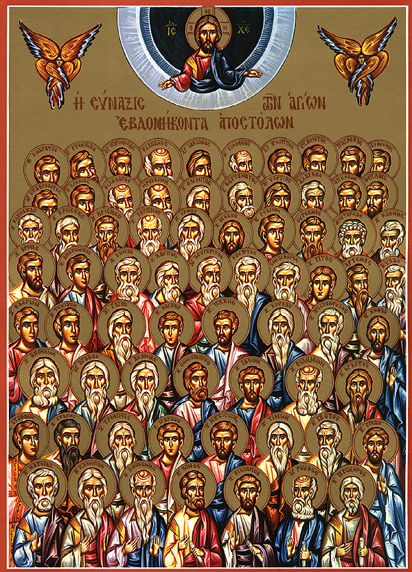 The Holy Apostles of the Seventy, being blessed for their mission by our Lord Jesus Christ.