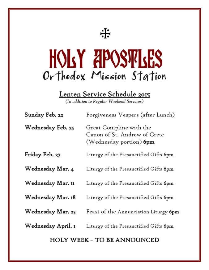 Lenten Service Schedule