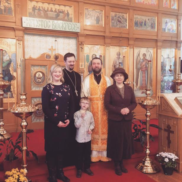 The Francis Family with Archpriest Michael & Matushka Elena Fourik at Holy Resurrection Sobor in Vancouver. (Left to Right: Matushka Krista Francis, Father Matthew Francis, Basil Francis, Archpriest Father Michael Fourik (Dean of BC and the Yukon), Matushka Elena Fourik, at Holy Resurrection Sobor, Vancouver, BC.)