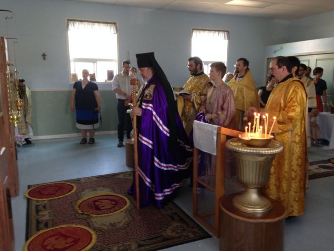 His Eminence, Archbishop Irenee, prays the Entrance Prayers prior to the Divine Liturgy, at the Holy Apostles Mission Station, Chilliwack, BC.
