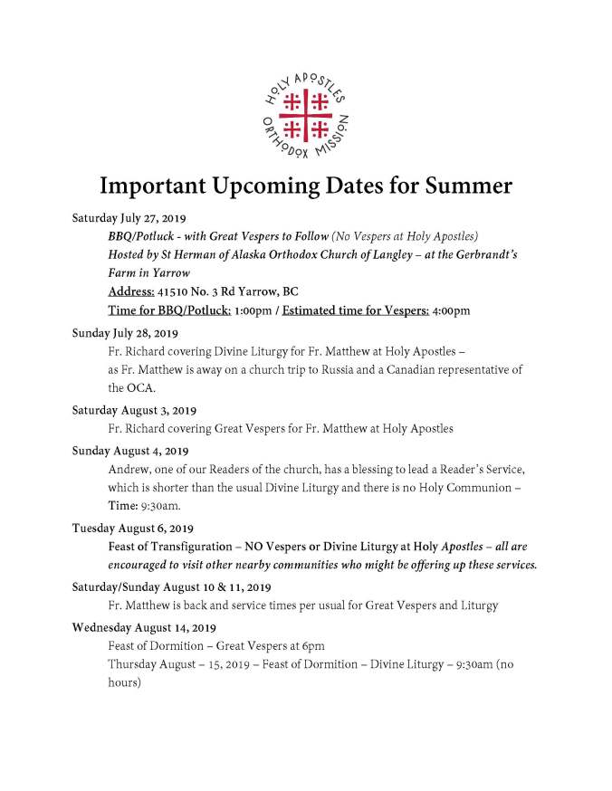 Important Upcoming Dates for Summer